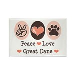 Peace Love Great Dane Rectangle Magnet (10 pack)