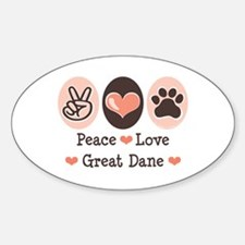 Peace Love Great Dane Oval Decal