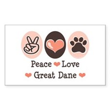 Peace Love Great Dane Rectangle Decal