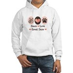 Peace Love Great Dane Hooded Sweatshirt