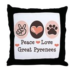 Peace Love Great Pyrenees Throw Pillow