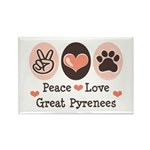 Peace Love Great Pyrenees Rectangle Magnet (100 pa