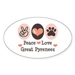 Peace Love Great Pyrenees Oval Sticker