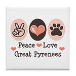 Peace Love Great Pyrenees Tile Coaster
