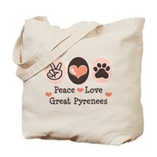 Peace Love Great Pyrenees Tote Bag