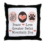 Peace Love Swiss Mt Dog Throw Pillow