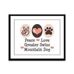 Peace Love Swiss Mt Dog Framed Panel Print