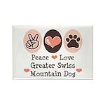 Peace Love Swiss Mt Dog Rectangle Magnet
