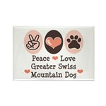 Peace Love Swiss Mt Dog Rectangle Magnet (10 pack)