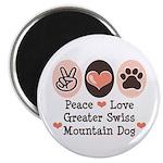 Peace Love Swiss Mt Dog Magnet