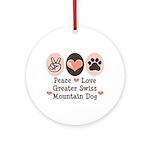 Peace Love Swiss Mt Dog Ornament (Round)