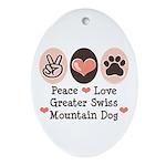 Peace Love Swiss Mt Dog Oval Ornament
