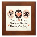 Peace Love Swiss Mt Dog Framed Tile
