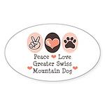 Peace Love Swiss Mt Dog Oval Sticker