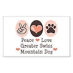 Peace Love Swiss Mt Dog Rectangle Sticker