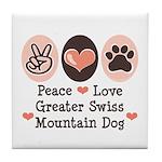 Peace Love Swiss Mt Dog Tile Coaster