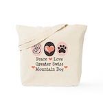 Peace Love Swiss Mt Dog Tote Bag