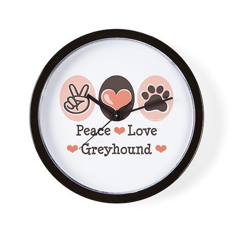 Peace Love Greyhound Wall Clock