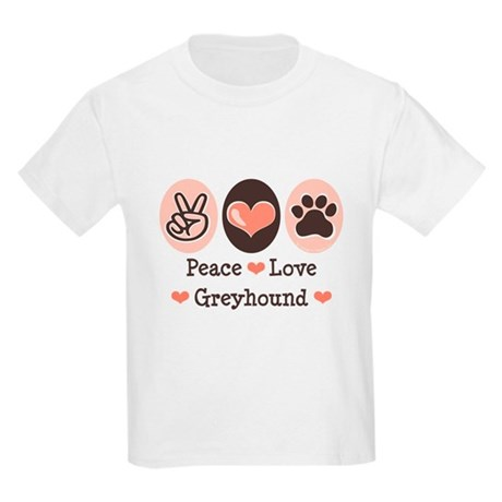 Peace Love Greyhound Kids Light T-Shirt