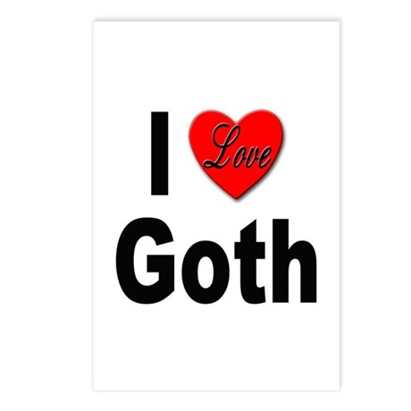 I Love Goth Postcards (Package of 8)
