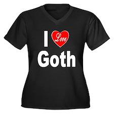 I Love Goth (Front) Women's Plus Size V-Neck Dark
