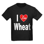 I Love Wheat (Front) Kids Dark T-Shirt