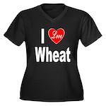 I Love Wheat (Front) Women's Plus Size V-Neck Dark