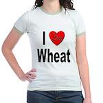 I Love Wheat (Front) Jr. Ringer T-Shirt