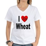 I Love Wheat (Front) Women's V-Neck T-Shirt