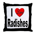 I Love Radishes Throw Pillow
