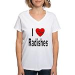 I Love Radishes Women's V-Neck T-Shirt