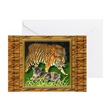 Bengal Tiger And Cubs Greeting Cards (Pk of 20)