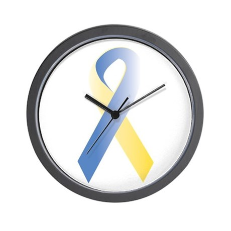 BlueYellow Ribbon Wall Clock