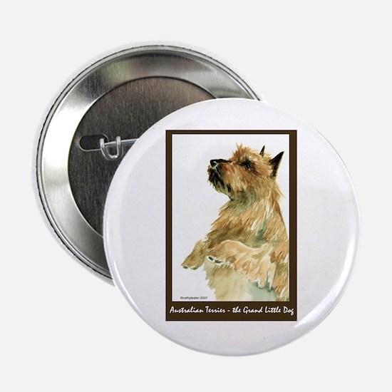 "Red Australian Terrier Begging 2.25"" Button"