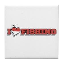 I Love Fishing Tile Coaster