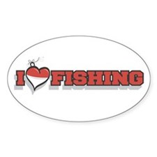 I Love Fishing Oval Sticker