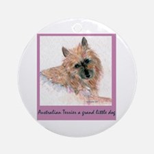 Red Australian Terrier Face Ornament (Round)