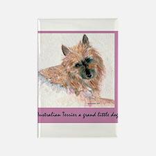 Red Australian Terrier Face Rectangle Magnet (10 p
