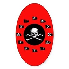 Red Pirate- Jolly Roger Oval Decal