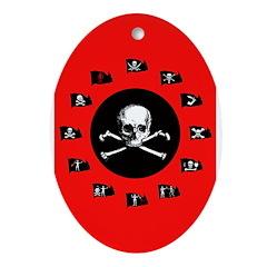Red Pirate- Jolly Roger Keepsake (Oval)