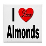 I Love Almonds Tile Coaster