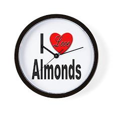 I Love Almonds Wall Clock