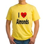 I Love Almonds (Front) Yellow T-Shirt
