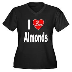 I Love Almonds (Front) Women's Plus Size V-Neck Da