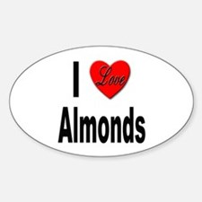 I Love Almonds Oval Decal