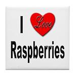 I Love Raspberries Tile Coaster