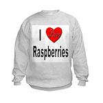I Love Raspberries (Front) Kids Sweatshirt