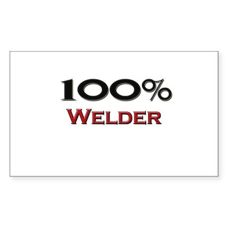 100 Percent Welder Rectangle Sticker