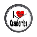 I Love Cranberries Wall Clock