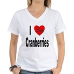 I Love Cranberries (Front) Women's V-Neck T-Shirt